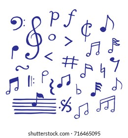music notes doodle, vector hand drawn style