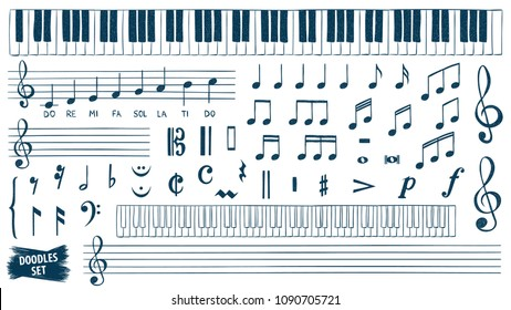 Music notes doodles set. Piano keys sketch. Treble clef. Hand drawn detailed sketch. G-clef. Scribbles collection. Scrawl. Music note. Classic concert. Piano. Organ. Symphony. Melody. Classic music.