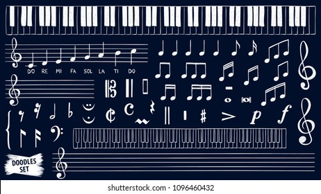 Music notes doodles set. Piano keys sketch. Treble clef. Hand drawn detailed sketch. G-clef. Music notes. Audio. Song. Scribbles collection. Scrawl. Piano. Organ. Symphony. Melody. Classic music.