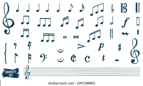 Music notes doodles set.  Treble clef. Hand drawn detailed sketch. G-clef. Scribbles collection. Music note. Orchestra. Jazz. Music key. Rhythm. Scrawl. Piano. Organ. Symphony. Melody. Classic music.