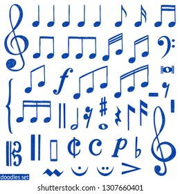 Music notes doodles set.  Treble clef. Hand drawn detailed sketch. G-clef. Scribbles collection. Piano. Organ. Symphony. Melody. Classic music.