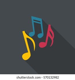 Music notes in flat design with long shadow.