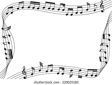 music notes flowing along the rim of artboards. A vector illustration.
