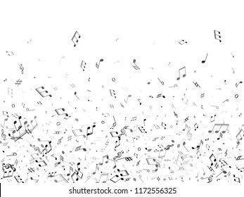 Music notes flying abstract vector musical background. Music symbols flying, musical notation. Isolated notes symbols.