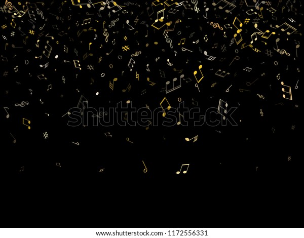 Music Notes Flying On Black Abstract Stock Vector Royalty