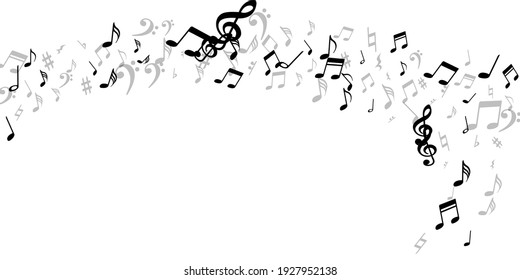 Music notes flying vector illustration. Sound composition elements explosion. Radio music wallpaper. Modern notes flying elements with bass clef. Album cover backdrop.