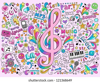 Music Notes G Clef Groovy Doodles Vector Illustration Hand-Drawn Design Elements