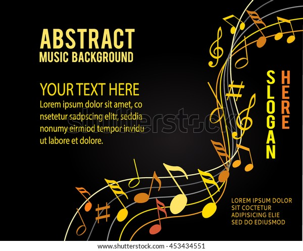 Music Notes Gold On Black Background Stock Vektorgrafik