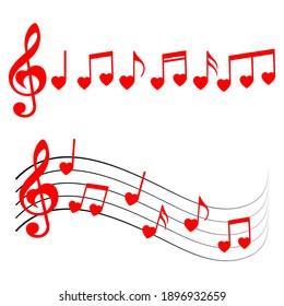 Music notes, heart shape, vector illustration.