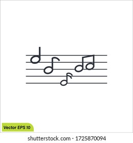 Music notes icon illustration, musical design element, vector eps 10.