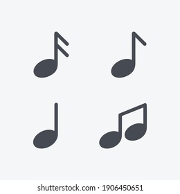 Music notes icon. Musical key signs. Vector symbols on white background
