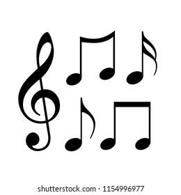 Music notes icon on white background