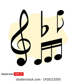 Music notes icon on white background.