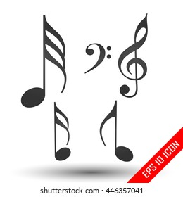 Music notes icon. Simple flat logo of music notes isolated on white background. Vector illustration.