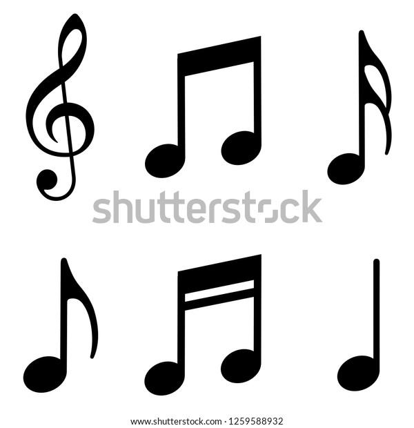 Набор значков музыкальных нот. Векторная иллюстрация