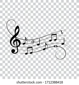 Music notes, isolated vector illustration.