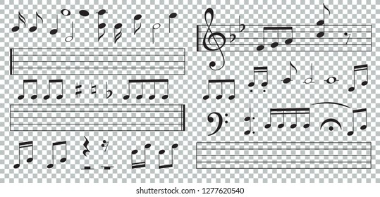 Music notes and keys on transparent background. Piano keys. Treble clef. Hand drawn effect vector. G-clef. Scribbles. Audio. Piano. Symphony. Song. Sing. Melody. Classic music.