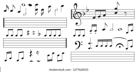 Music notes and keys on white background. Piano keys. Treble clef. Hand drawn effect vector. G-clef. Scribbles. Audio. Piano. Symphony. Song. Sing. Melody. Classic music.