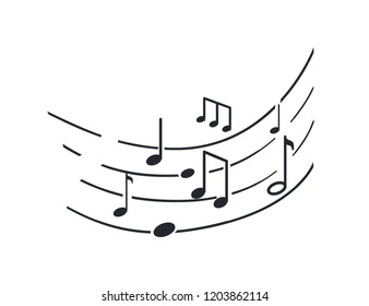 Music notes and melody tablature, sounds signs monochrome sketch outline vector line art. Song symbols on sheet, concert accords and tunes tone, rhythms key