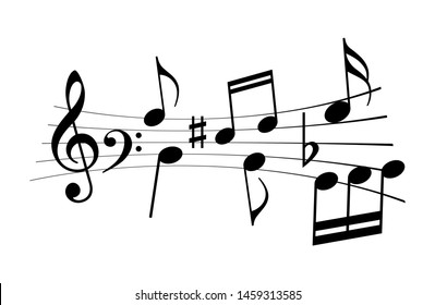 Music notes and melody vector icon isolated on white background