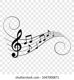 Music notes, musical design element, isolated, vector illustration.