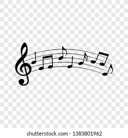 Music notes, musical design, isolated, vector illustration.
