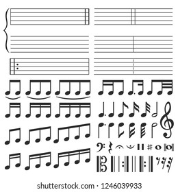 Music notes. Musical melody notation, note tone and treble clef swirl shape. Notes or sketch drawn classic piano note black silhouette isolated icons vector set