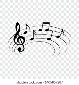Music notes on curved stave, vector illustration.