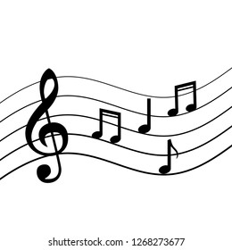 Music notes on the lines. Vector illustration on white background