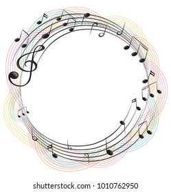 Music notes on round frame illustration