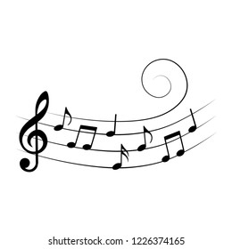 Music notes on stave, isolated, vector illustration.