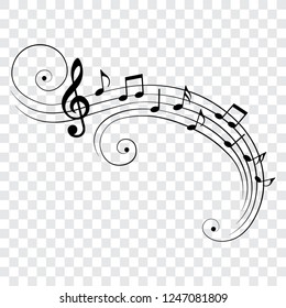 Music notes on staves with swirls, isolated, vector illustration.