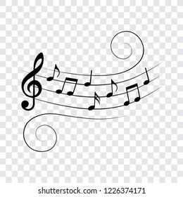Music notes on wavy stave, isolated, vector illustration.