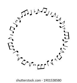 Music notes round pattern, vector illustration.