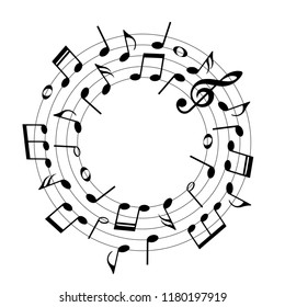 Music notes in round shape, musical design elements, vector illustration.