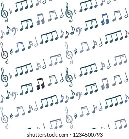 Music notes seamless vector background. Musical notation doodle texture.