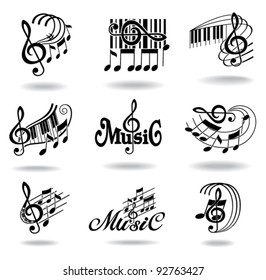 Music notes. Set of music design elements or icons.