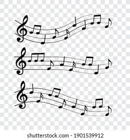 Music notes set, vector illustration.