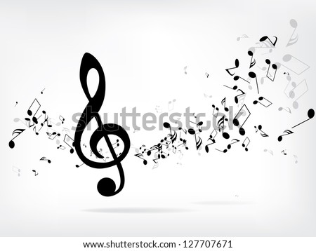 Music Notes Shadow Abstract Musical Background Vector Stock Vector