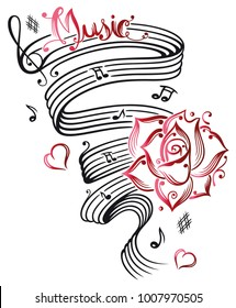 Music notes with music sheet and rose. I Love Music.