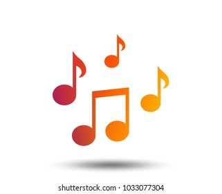 Music notes sign icon. Musical symbol. Blurred gradient design element. Vivid graphic flat icon. Vector