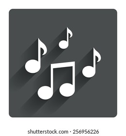 Music notes sign icon. Musical symbol. Gray flat square button with shadow. Modern UI website navigation. Vector