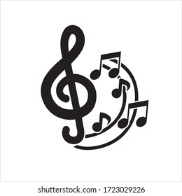 Music notes sign and key. Vector musical illustration.