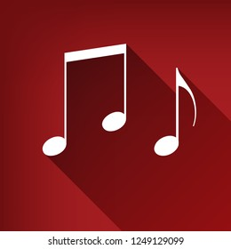 Music notes sign. Vector. White icon with limitless shadow at ruby red background.