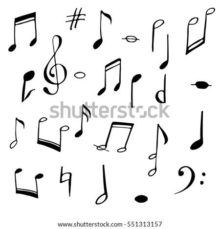 Music Notes Signs Set Hand Drawn Stock Vektorgrafik Lizenzfrei