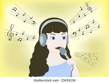 Music, notes and singing girl with earphones and microphone