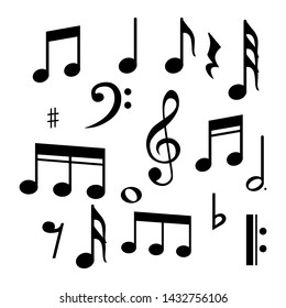Music notes, song, melody and tune vector icon