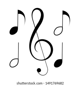 Music notes, song, melody or tune flat vector icon for musical apps and websites  isolated on white background.