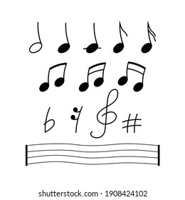 Music notes, song, melody or tune. Isolated flat vector icon on white backgraund. Doodle style