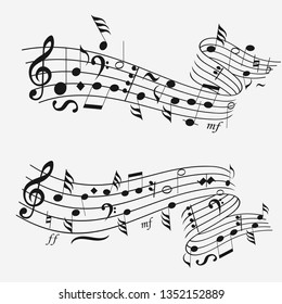 Music notes sound wave. Musical notation background. Note sheet. Vector